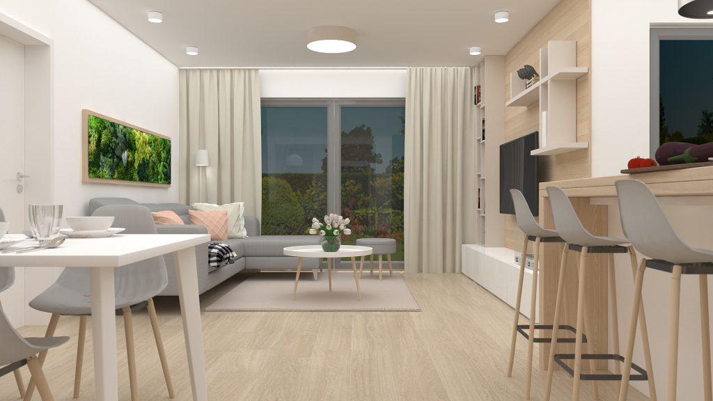 moderný škandinávsky interiér - obytný priestor