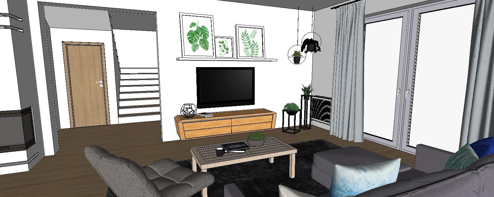 3d návrh interiéru obývačka