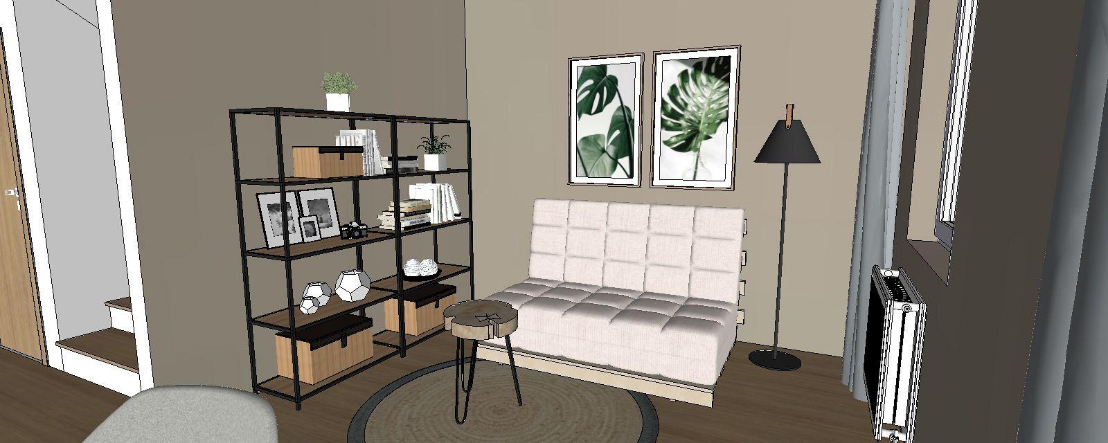 3d návrh interiéru pracovňa