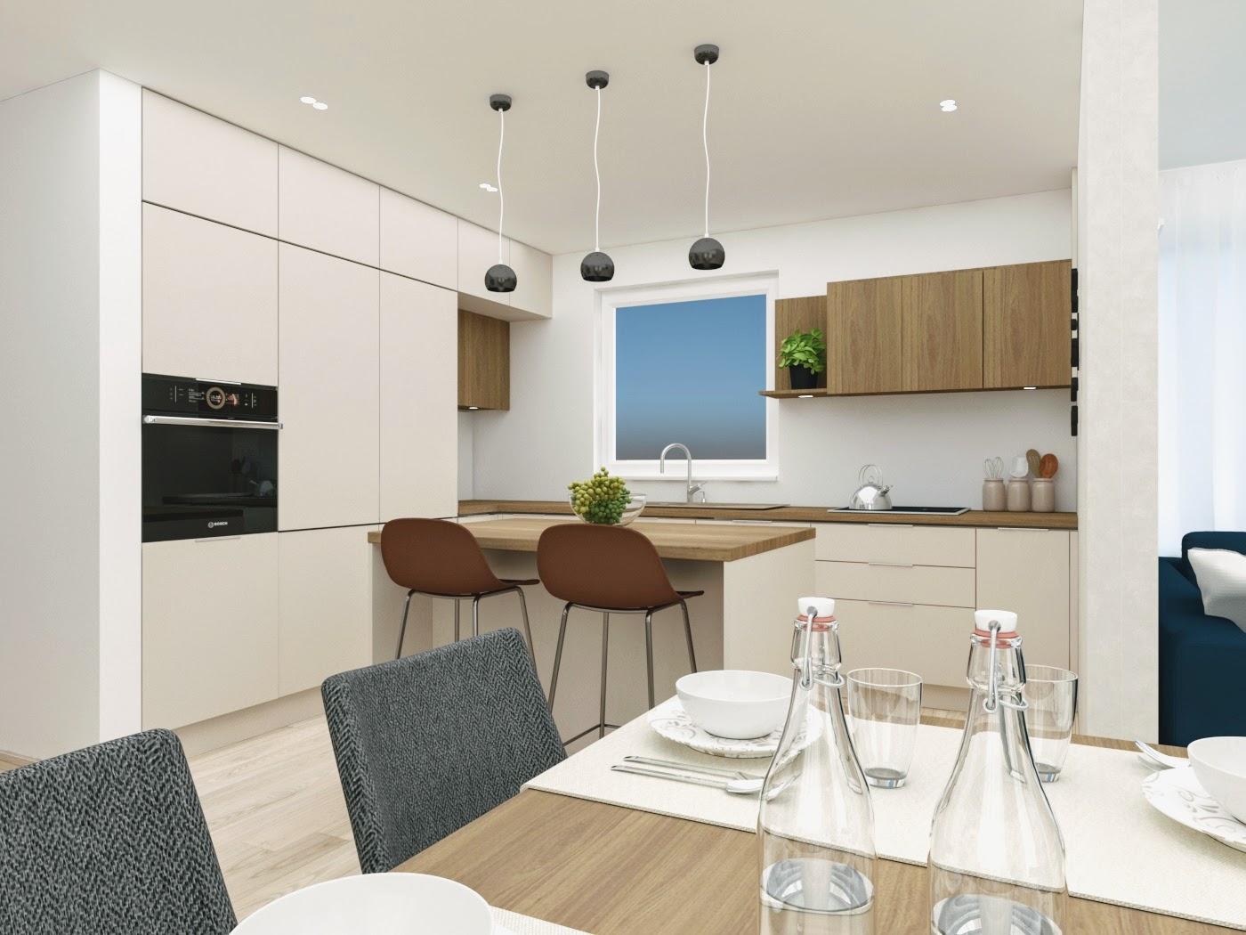 Dizajn interiéru obývačky, spálne a kuchyne