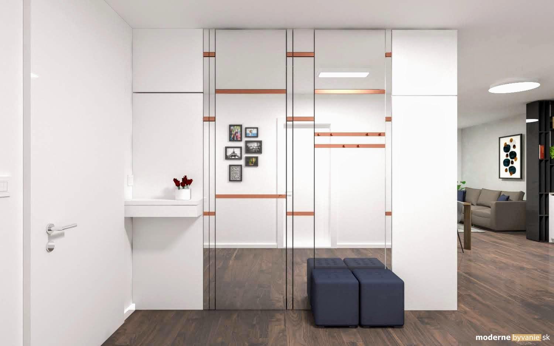 Návrh interiéru - Vstup do bytu -Luxusný interiér s medenými prvkami