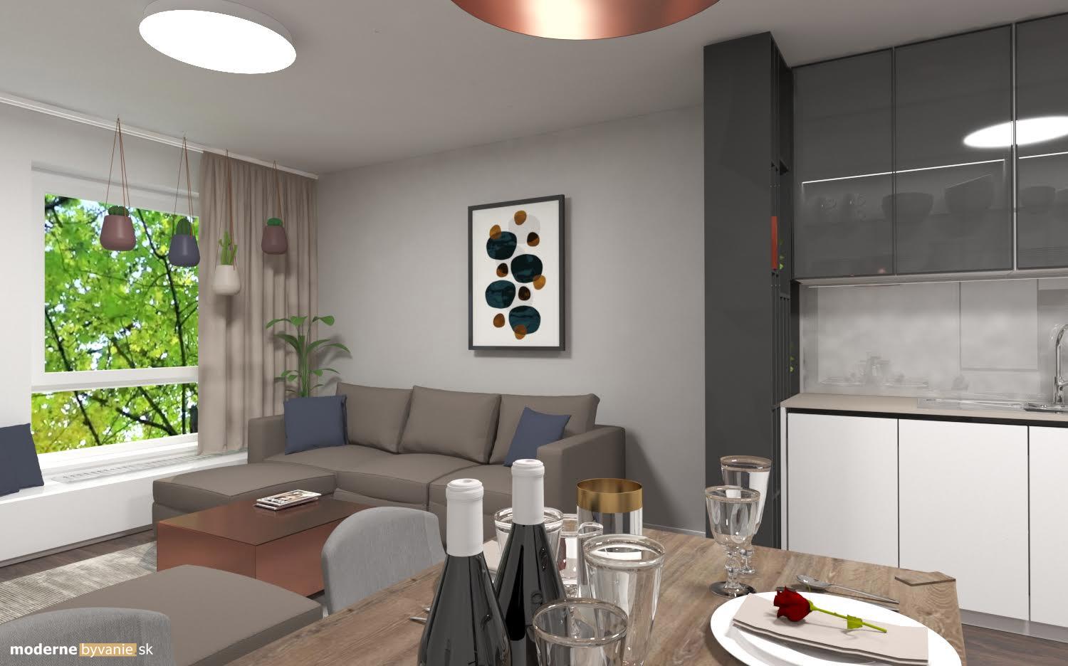 Návrh interiéru - Obývačka a kuchyňa -Luxusný interiér s medenými prvkami