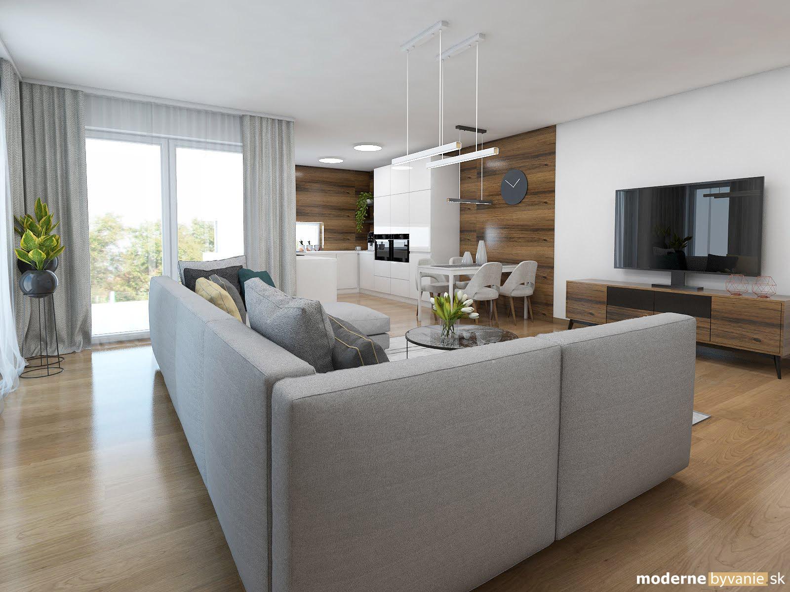Návrh interiéru - Obývačka - Elegantný nadčasový interiér