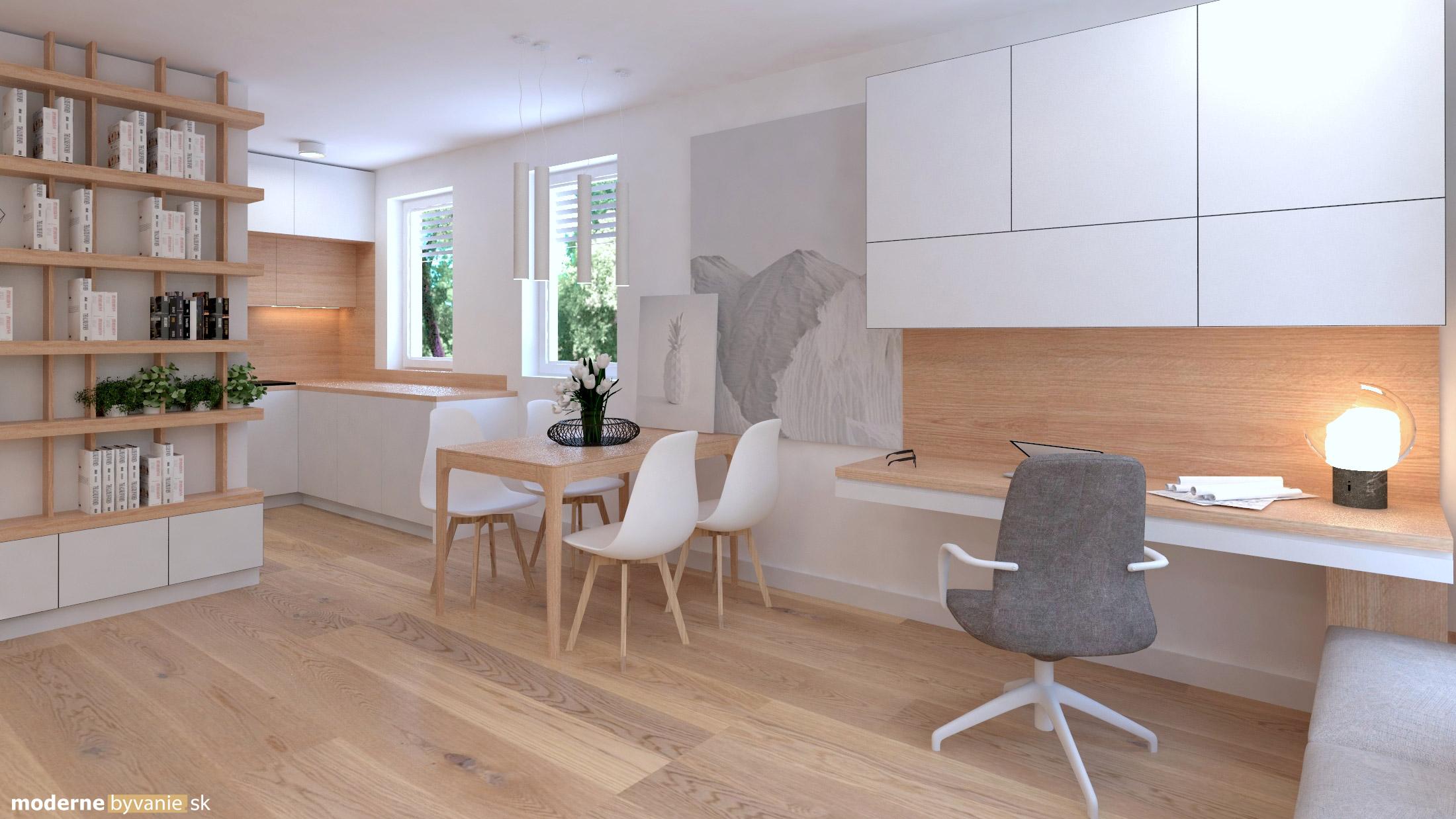 Návrh interiéru - Pracovný kút - Príjemný škandinávsky dizajn