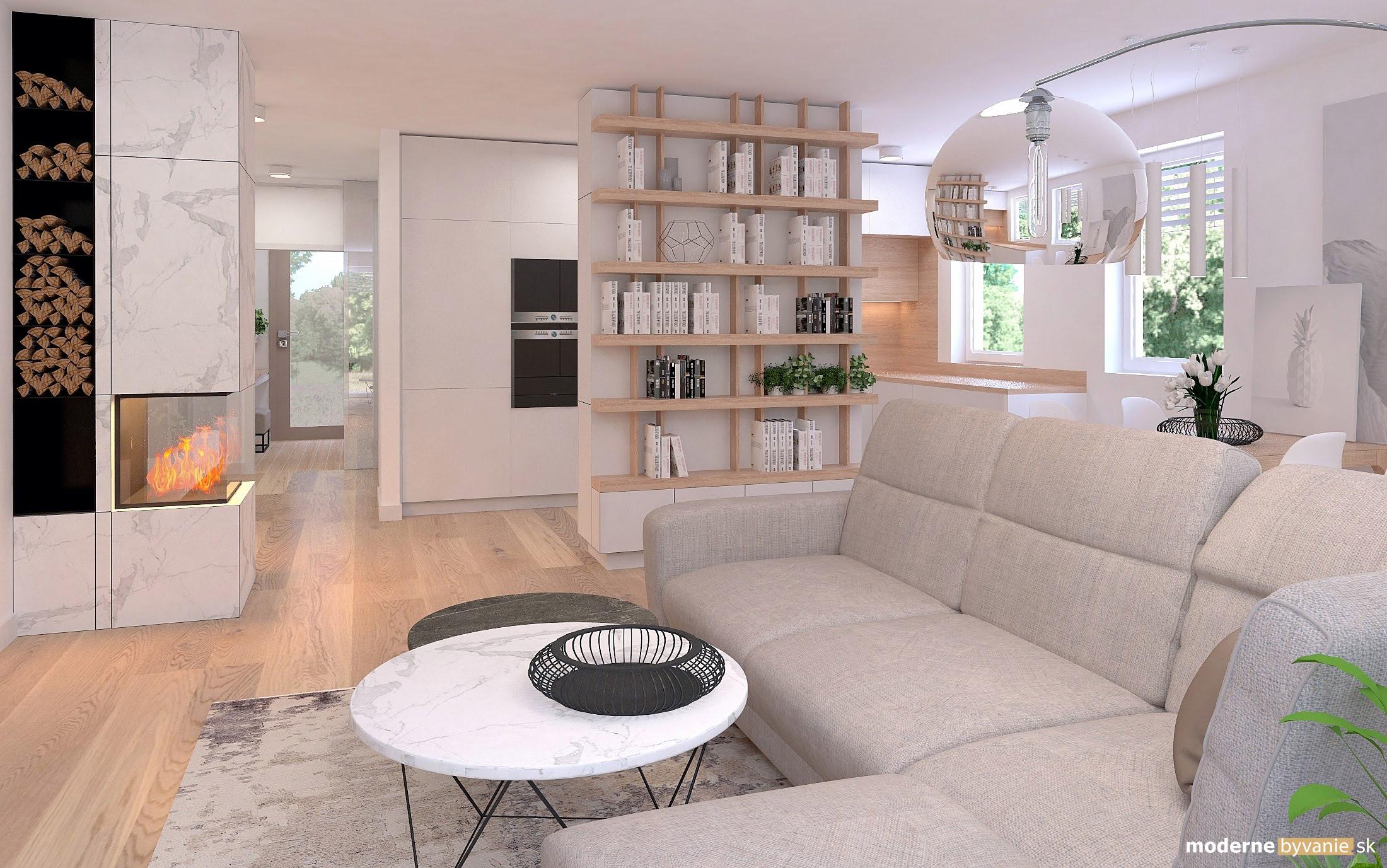 Návrh interiéru - Obývačka a kuchyňa - Príjemný škandinávsky dizajn