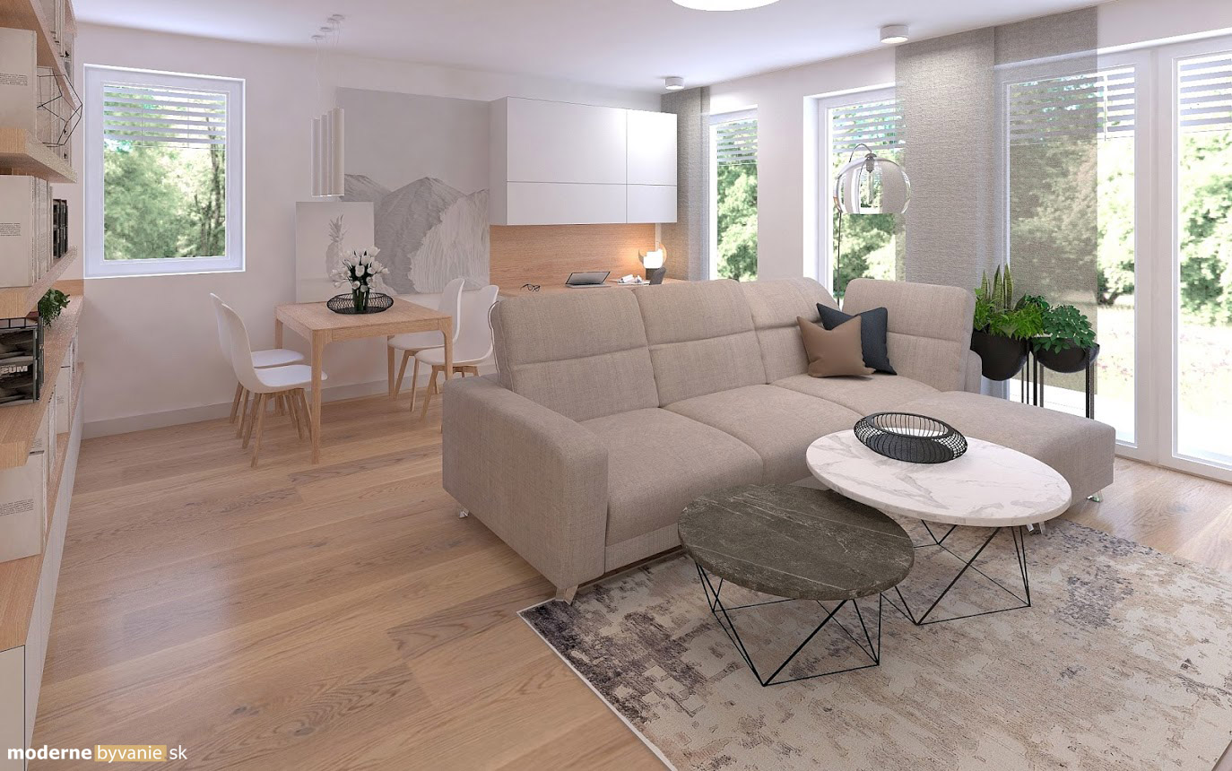 Návrh interiéru - Obývačka - Príjemný škandinávsky dizajn