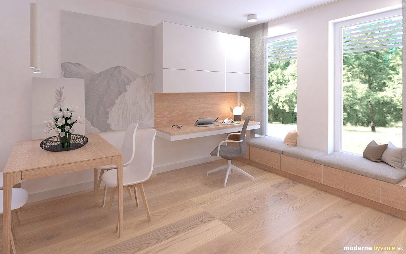 Návrh interiéru - Pracovný kút v obývačke - Príjemný škandinávsky dizajn