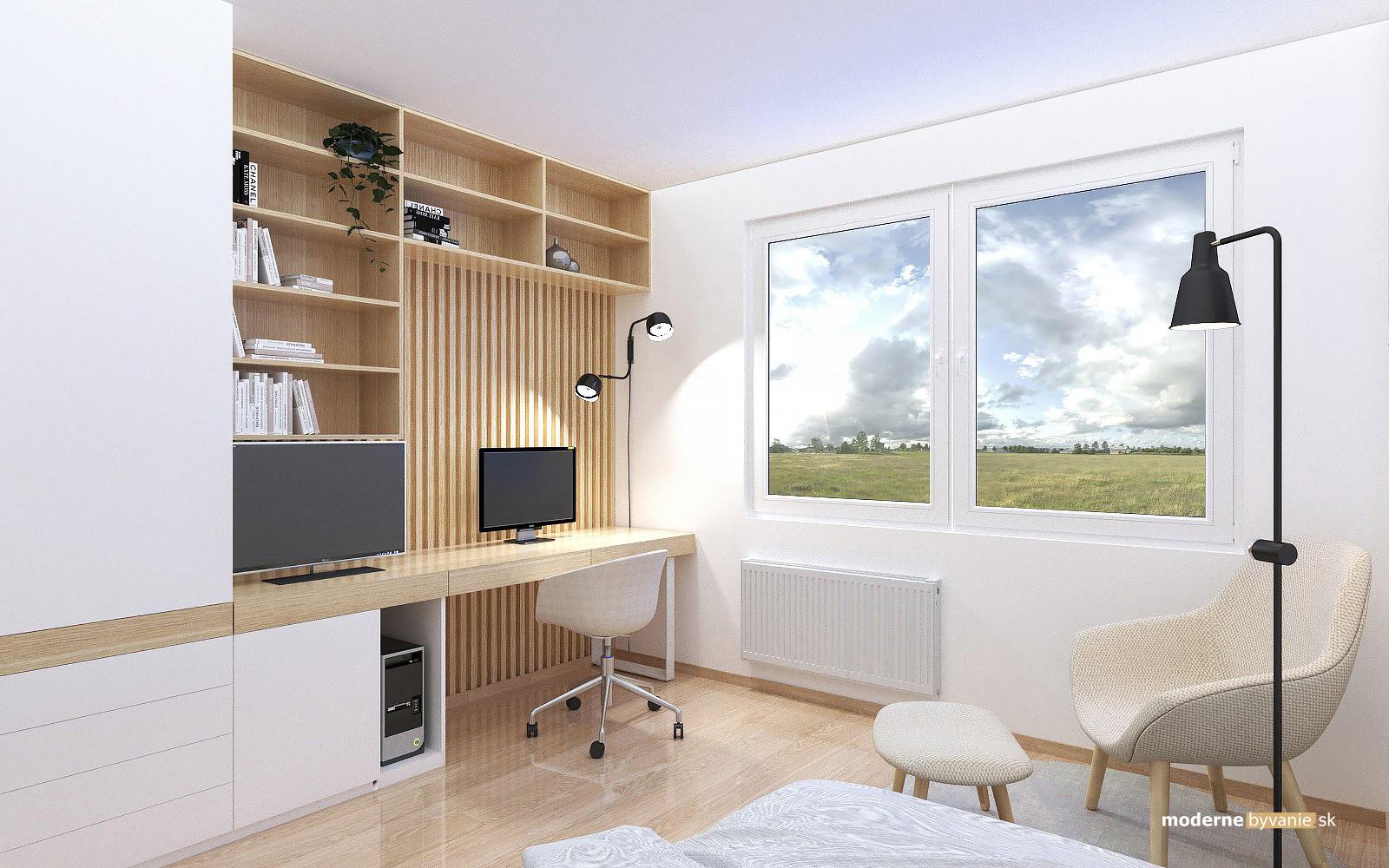 Návrh interiéru-Pracovný kút-Rekonštrukcia 4 izbového bytu v Dúbravke