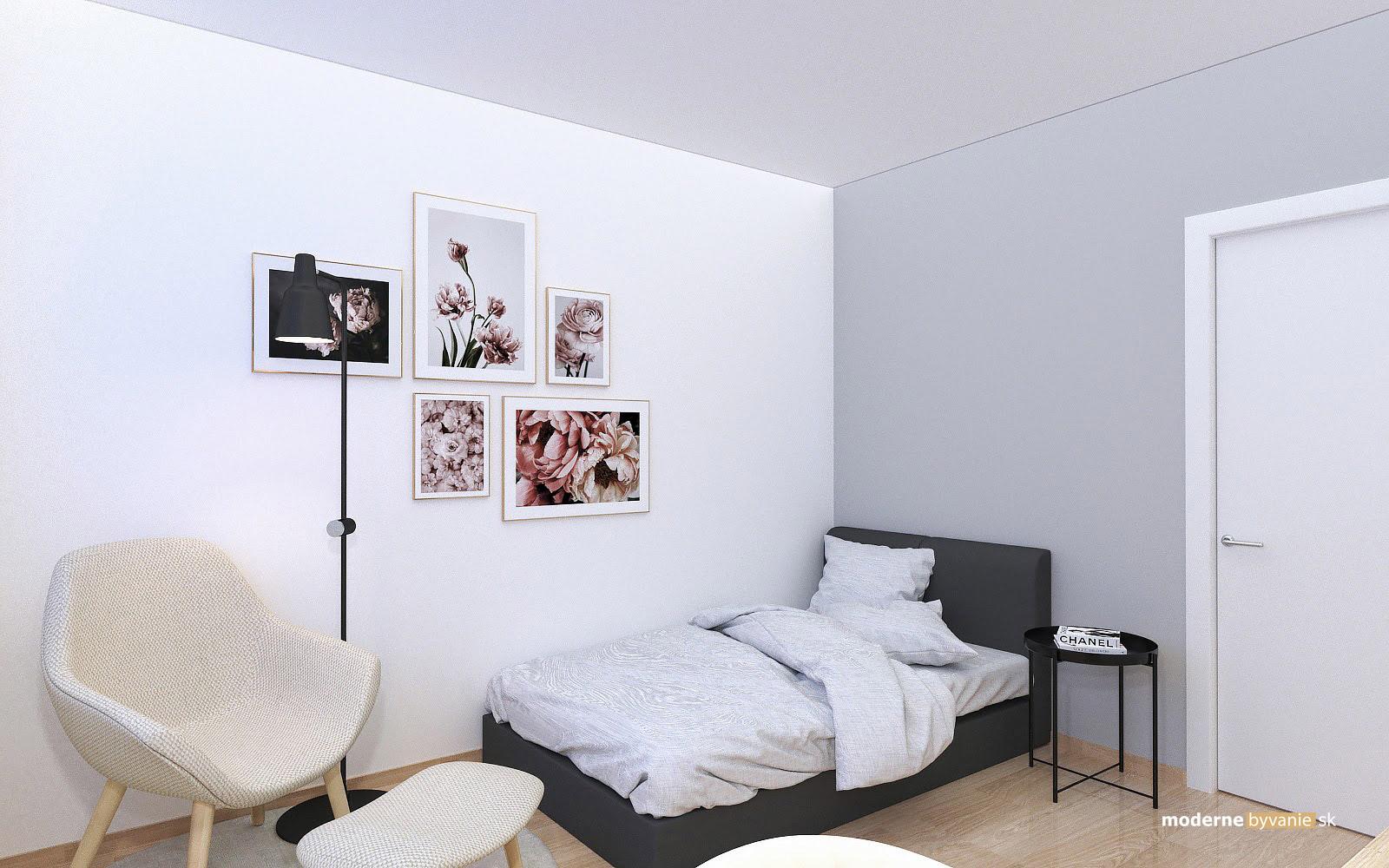 Návrh interiéru-Spálňa-Rekonštrukcia 4 izbového bytu v Dúbravke