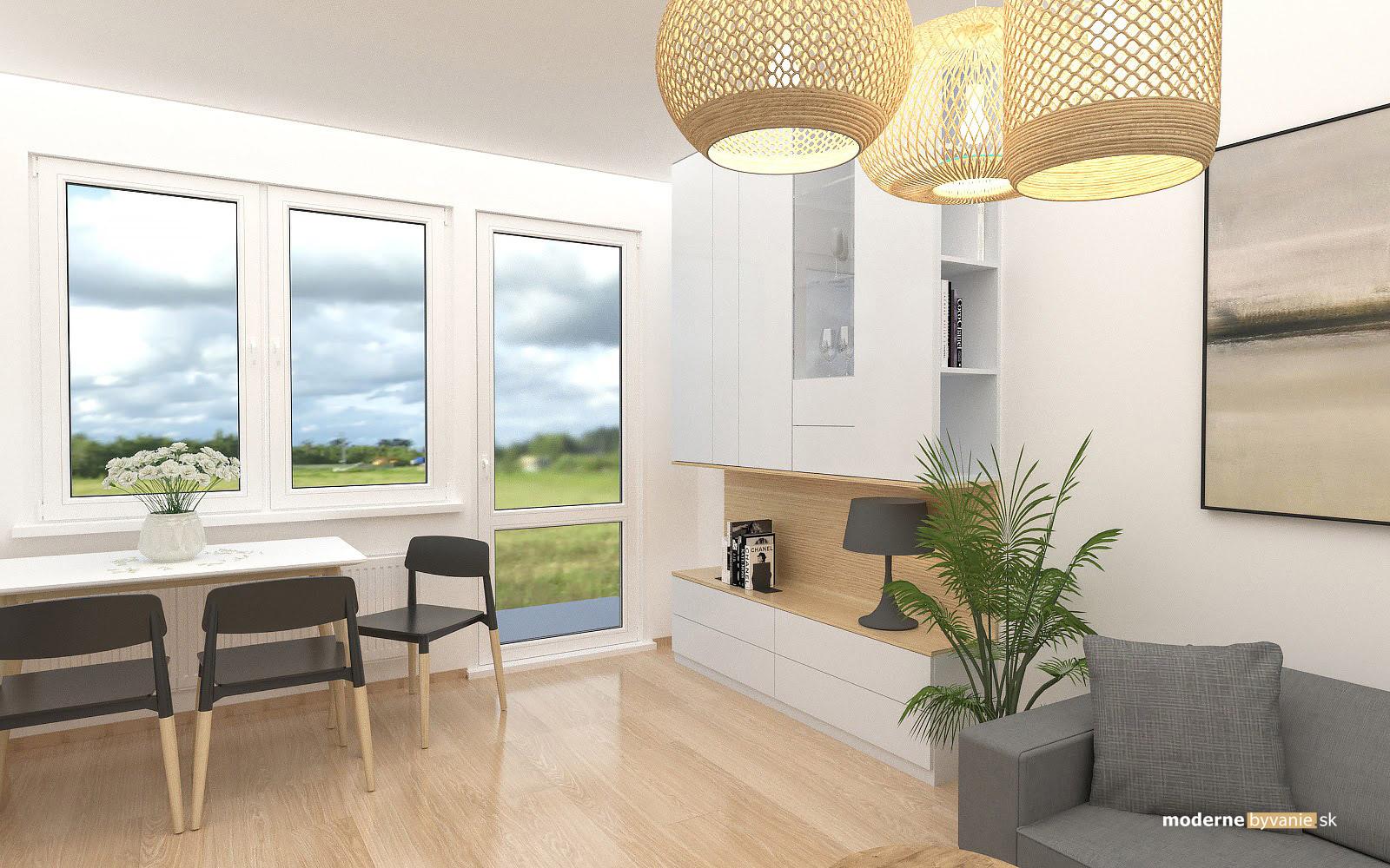 Návrh interiéru-Obývačka-Rekonštrukcia 4 izbového bytu v Dúbravke