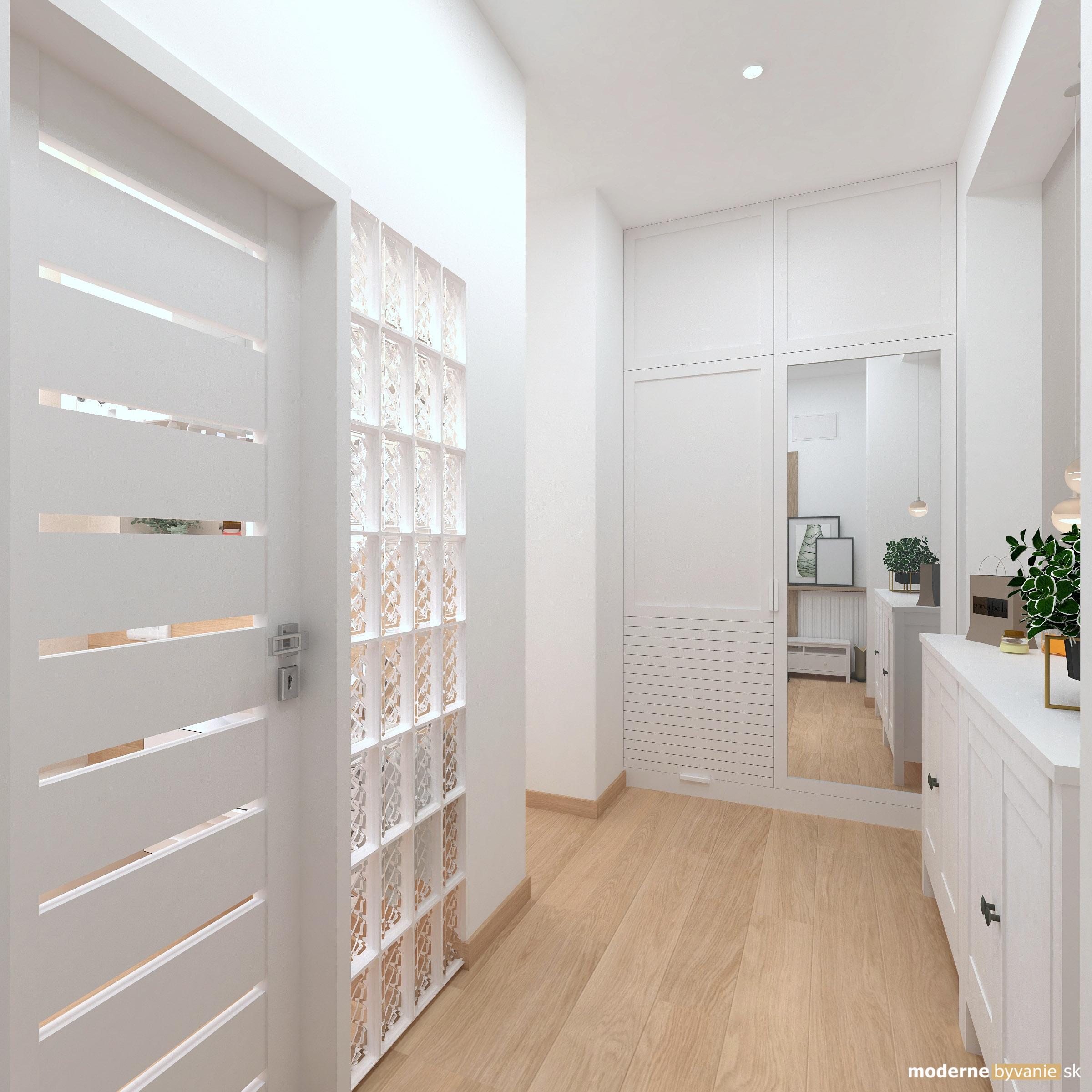 Návrh interiéru - Vstupná chodba - Bytový dizajn malého bytu s veľkou izbou