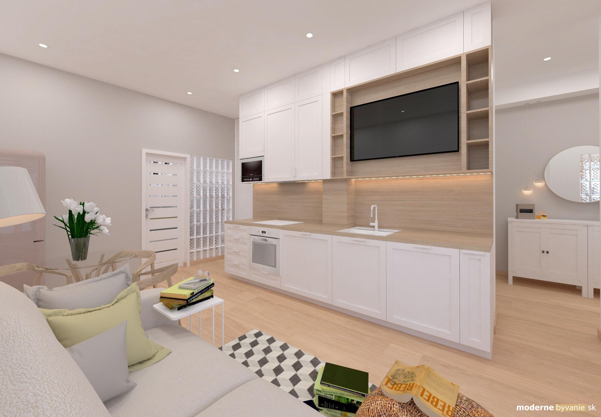 Návrh interiéru - Obývačka s kuchyňou - Bytový dizajn malého bytu s veľkou izbou