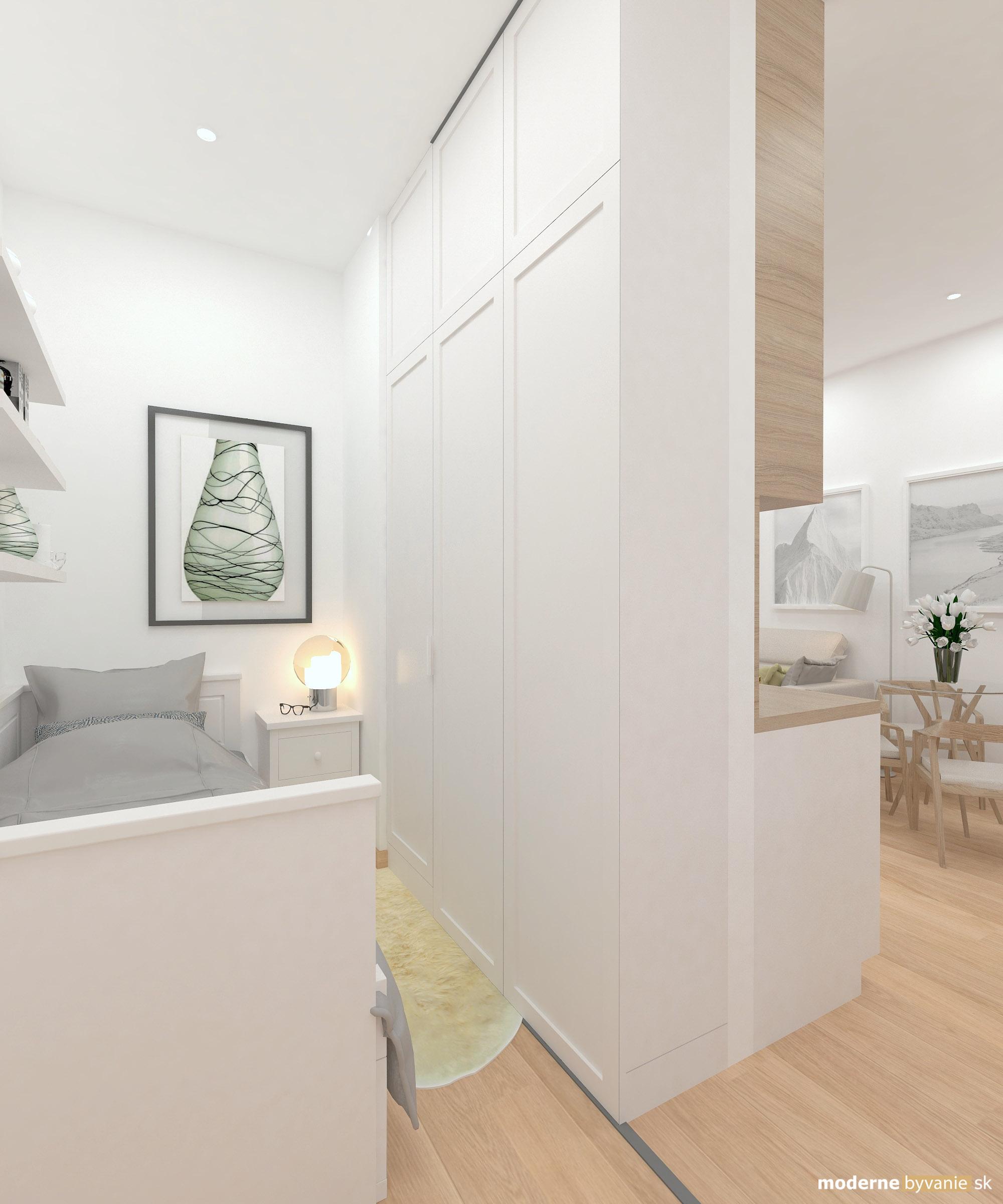 Návrh interiéru - spálňa - Bytový dizajn malého bytu s veľkou izbou