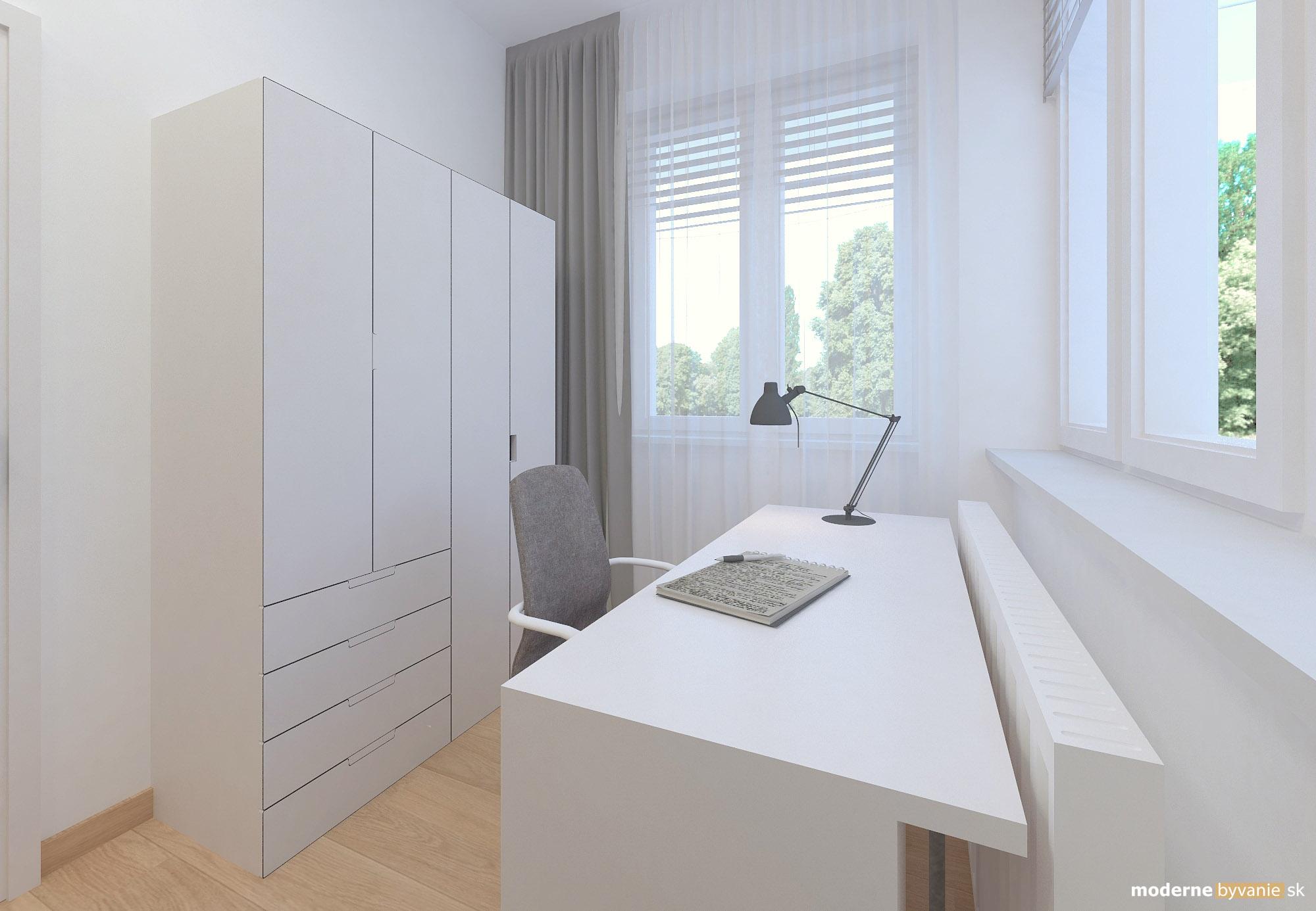 Návrh interiéru - pracovňa - Bytový dizajn malého bytu s veľkou izbou
