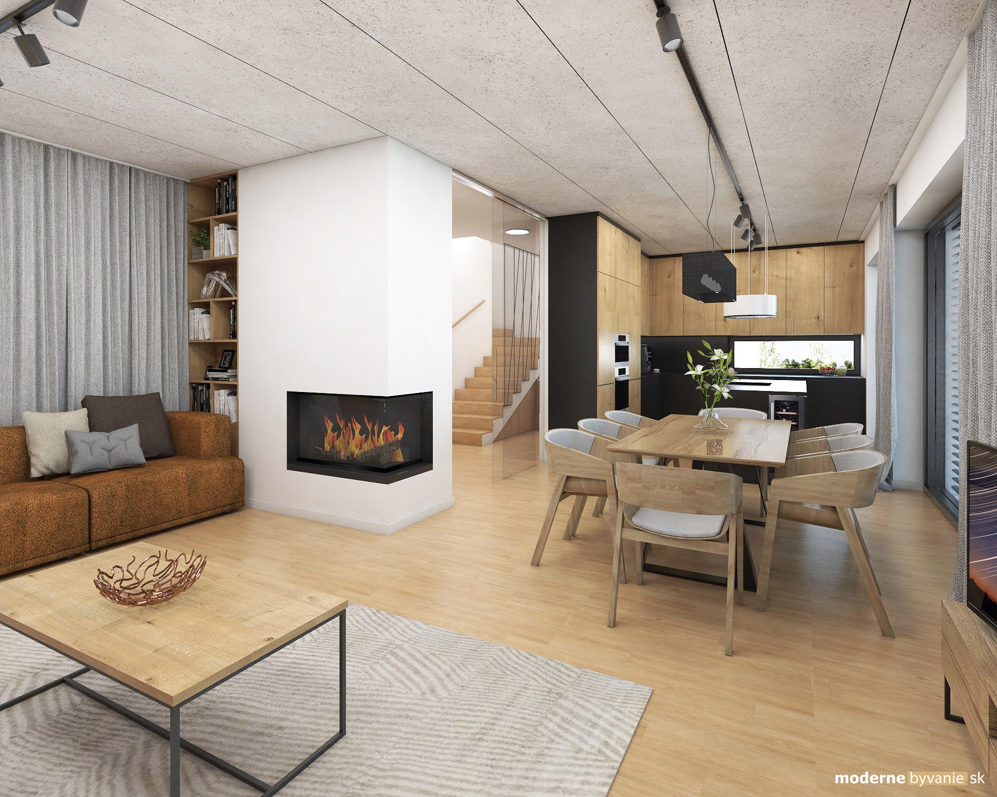 Návrh interiéru - Jedáleň a Obývačka - Dizajn interiéru domu v Tatrách