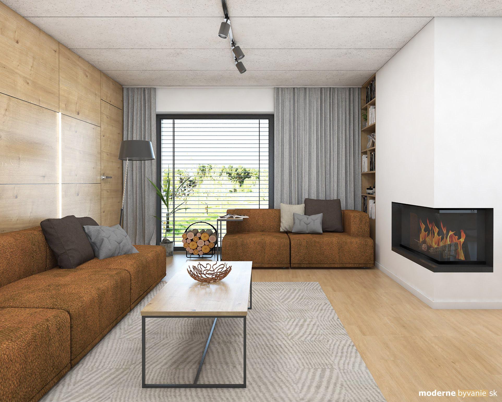 Návrh interiéru - Obývačka - Dizajn interiéru domu v Tatrách