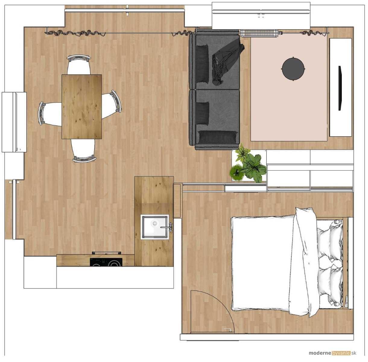 Návrh interiéru - Rozdelenie izieb - Vytvorenie hosťovskej izby v byte