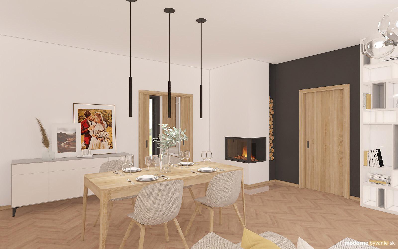 Návrh interiéru-Jedáleň-Návrh interiéru domu v Cíferi