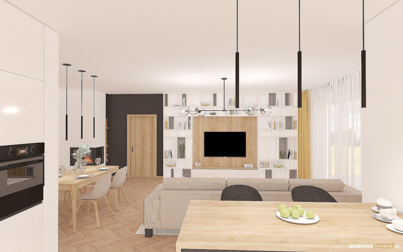 Návrh interiéru-Hlavný obytný priestor-Návrh interiéru domu v Cíferi
