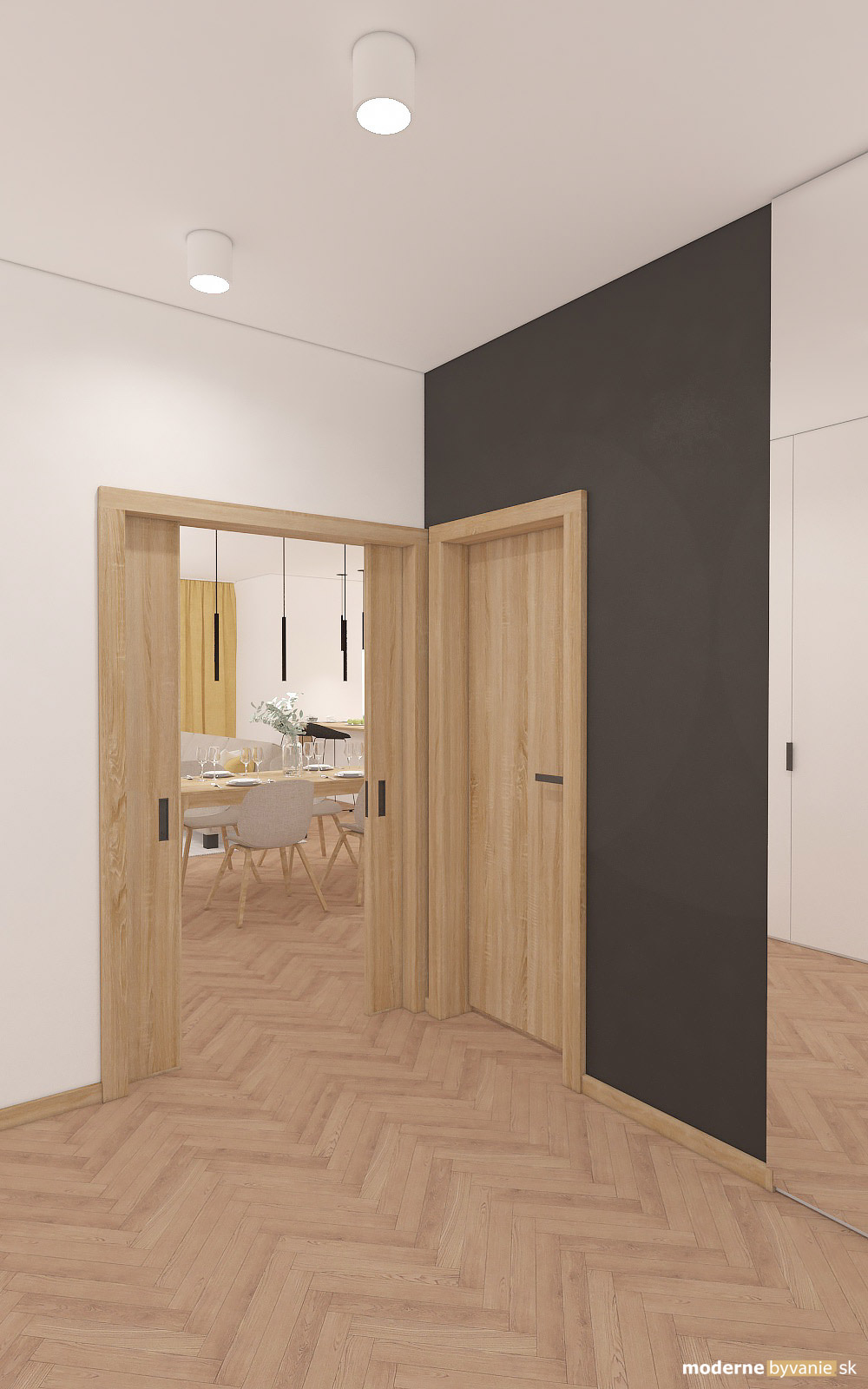 Návrh interiéru-Vstupná chodba-Návrh interiéru domu v Cíferi