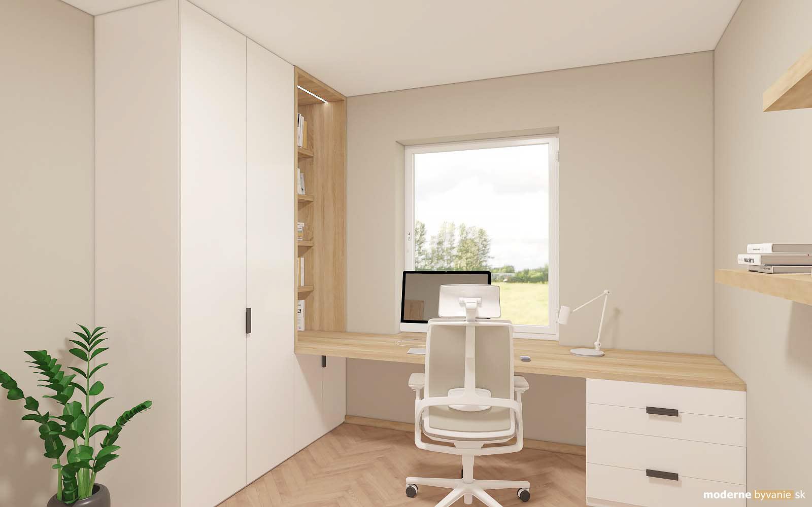 Návrh interiéru-Pracovňa-Návrh interiéru domu v Cíferi