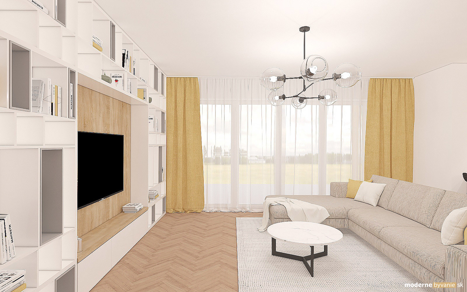 Návrh interiéru-Obývačka-Návrh interiéru domu v Cíferi